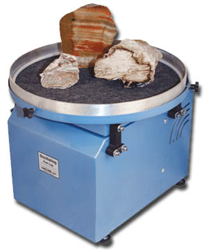 Lapidary Equipment from Lortone(c) Oscillating flat laps are designed for polishing slabs, geode halves, bookends and other items where a flat surface is desired. Machines have a heavy steel frame construction and come with separate grinding and polishing pans. A smoothly sawed slab or geode can be ground and polished in 3-7 days. Order NOW!