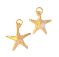 Sorry Sold Out - Gold Plated Sea Stars also known as Star Fish... these delicate starfish are lavishly electroplated with genuine 24K gold and are available as a charm to be worn as a pendant on a gold chain around the neck. Approx. size 1 inch.