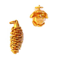 Gold Plated Pinecones (long style - out of stock) and Redwood cones these gifts from the forest are hand-dipped with thick layers of 24K gold coat. This assortment of small cones up to 1 inch in size represents the cycle of life to come. In Stock Shipping weight 2 ozs. $5.95. Order NOW while supplies last!