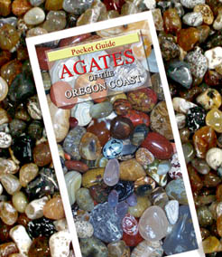 FACETS - Assorted Polished Select Oregon Agates and Jaspers - these are high-luster semi-precious hand picked tumbled stones to be used as Polished Accent Stones - by professionals and hobbyists alike.  Illustration shows the previous book Agates of the Oregon Coast sitting among the agates (however this issue is now out of print - Click here to see the NEW all inclusive Agates of the Oregon Coast - Pocket Guide below) .