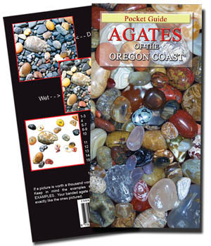 If a picture is worth a thousand words, this guide tells it ALL! This comprehensive, Easy-to-use with simple descriptions this full color illustrated guide of the what, where, when, and how to collecting agate, jasper, fossils, and petrified wood commonly found along the Pacific Coastline is ideal for the novice or experienced collector of all ages and abilities.  Just the book to identify your finds by just placing your dry rocks over the color example photos.  This best seller is in stock for immediate shipping.  Buy it NOW and SAVE!