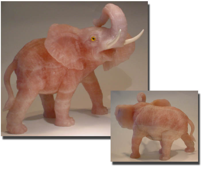 Large African Elephant Gemstone Carving of Rose Quartz - Order NOW.