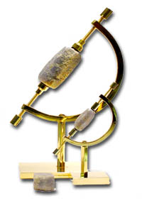 Gold plated crescent shaped - caliper stands or solid brass display stands, SOLD OUT!  The sleek design of the calipers shows off your collectable: gemstones, shells, fossils, crystals and more very elegantly.  They come with rubber pads on the inside of the screw tips to protect the item held and are (calipers shown here) are gold plated over solid brass.  Other brass styles may include an animal motif.