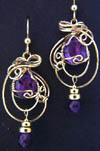 Pictured 14KGF wire wrapped faceted amethyst earrings
