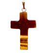 Gemstone cross pendant shown here shown in tiger eye