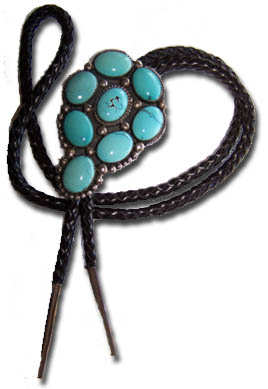 Sample of one-of-a-kind Sterling Silver Turquoise Bola Tie - Multi-Cab Crafted in Sterling Silver with spring clasp slide on a black braided leather cord with fine sterling silver bolo tips