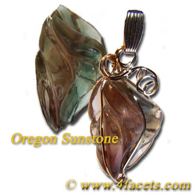 Custom wire wrapped pendant by Kay the New Owner of FACETS. Click here to learn more about the Oregon State Gemstone the Sunstone.
