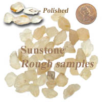 Samples of the Oregon State Gemstone - Oregon Sunstone.