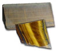 Photo shows Tiger Eye which is widly used for cutting spheres or slabbing for cabochons in jewelry making and or carving.